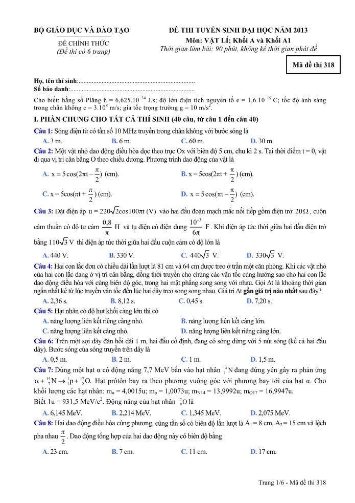 Đề thi đại học và đáp án môn Vật lí khối A, A1 năm 2013
