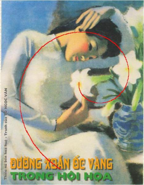 Đường xoắn ốc vàng trong bức tranh thiếu nữ bên hoa huệ