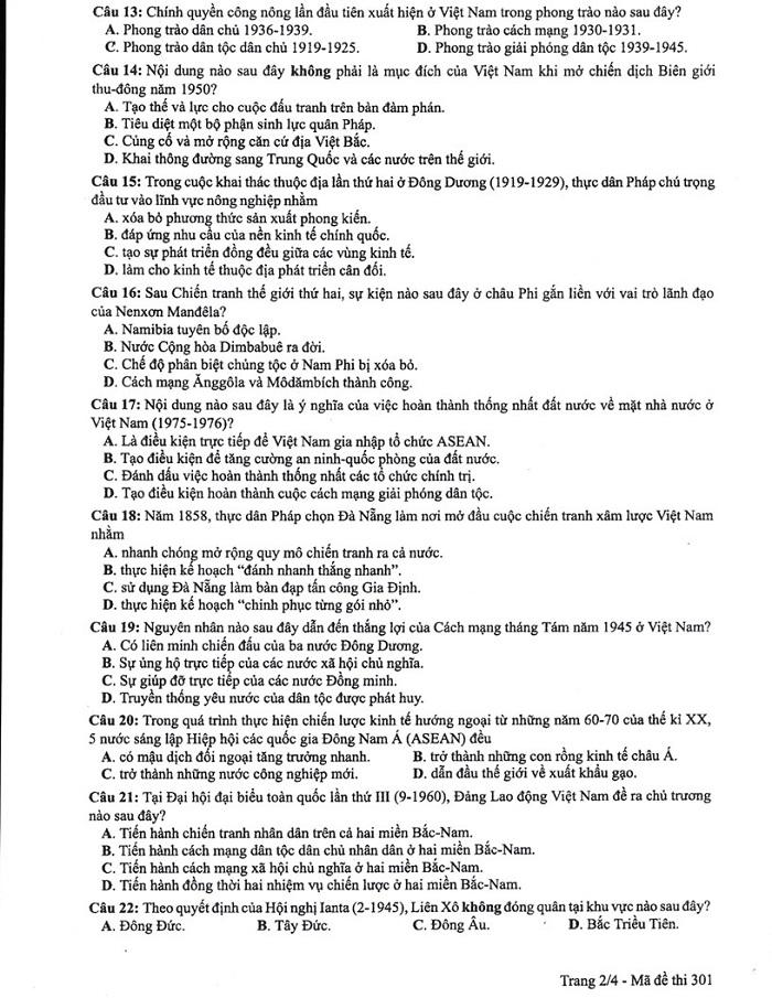 đáp án đề thi THPT Quốc gia môn Sử
